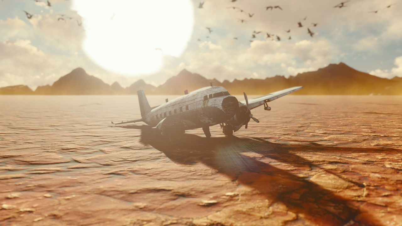 The,Crashed,Plane,Is,In,The,Desert.,Apocalyptic,View,Of