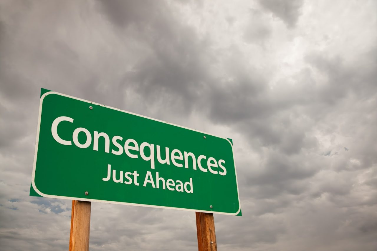 consequences just ahead sign storm clouds Courtesy of Andy Dean PhotographyShutterstockcom 57108277