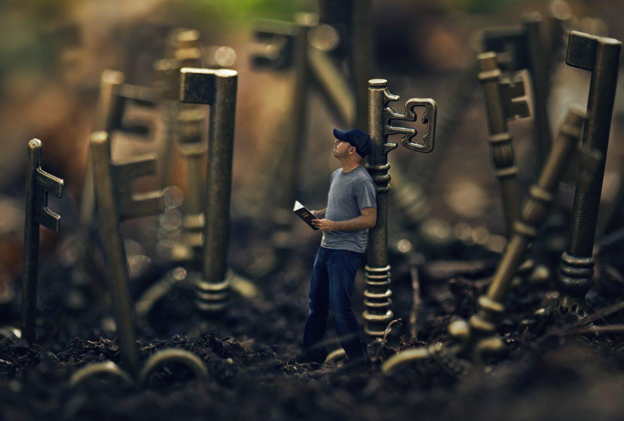 Man and keys