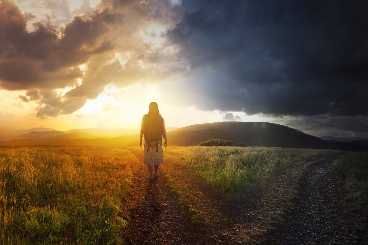 Woman chooses between light and dark