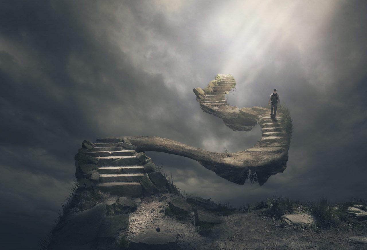 Man walks up the steps