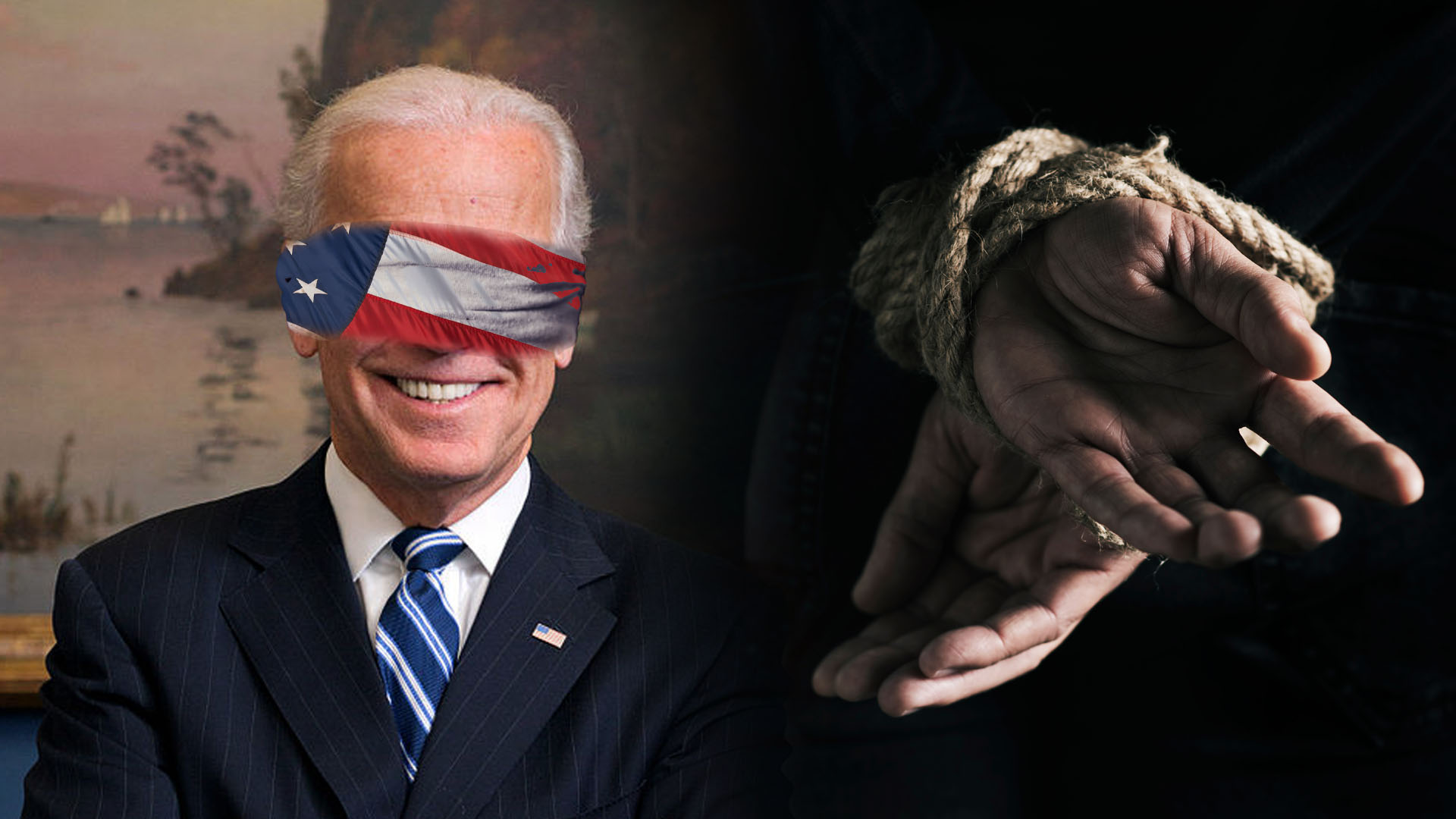 Joe Biden American Flag Blindfolded Hands Tied with Rope